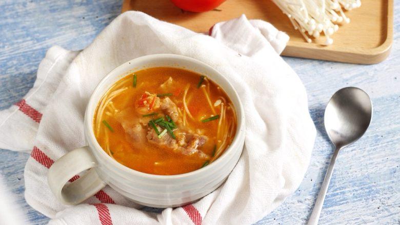 暖心快手汤,西红柿金针菇肥牛汤