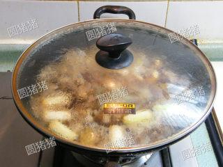 萝卜焖牛腩——冬季的萝卜赛人参,再加入氽烫过的牛腩,海天柱侯酱2大匙,翻炒至牛腩均匀上色,再注入清水600ml,水量没过肉块约2CM的量。加入米酒、生抽、老抽、冰糖加盖大火煮大后,转小火焖制2小时。