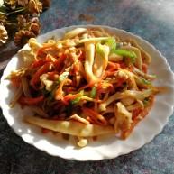 肉炒白玉菇辣椒胡萝卜
