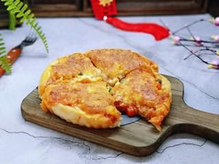 披萨新吃法~奥尔良鸡丁披萨,切开了呦~准备开动。