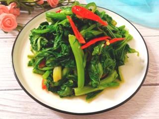 辣炒菜苔,脆绿辣爽的菜苔好吃