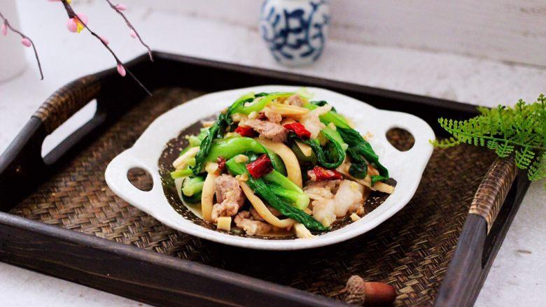蒜香杏鲍菇青菜炒花肉