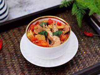 冻豆腐海虾炖番茄