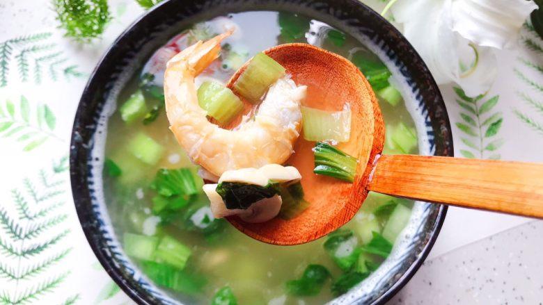 青菜口蘑虾干汤