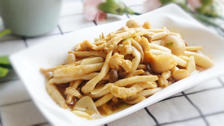 蚝油鸡丝双菇