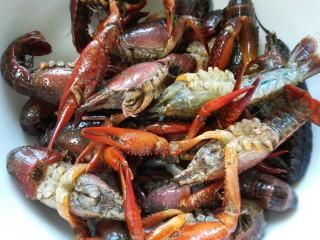 蒜泥小龙虾,剪去其须子和小脚并再次清洗一遍