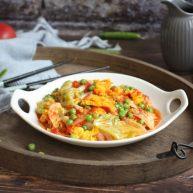 番茄鹅蛋炒豌豆卷心菜