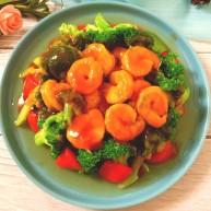 番茄虾仁西蓝花