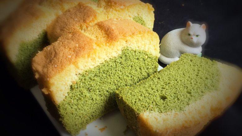 玉米粉抹茶双色蛋糕