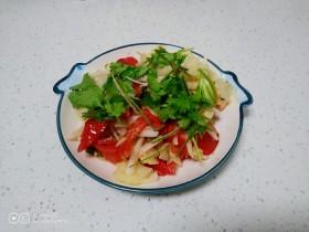 凉拌白萝卜丝、包菜、西红柿