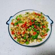 尖椒、洋蔥、咸蛋清、豆角炒米