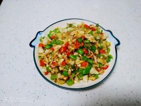 尖椒、洋葱、咸蛋清、豆角炒米
