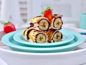 快手早餐-香蕉蓝莓吐司卷