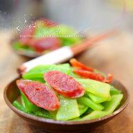 广式香肠炒莴笋