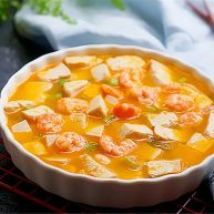 咸蛋黄虾仁豆腐