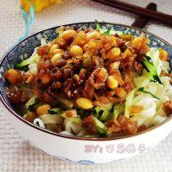 肉末榨菜黄豆面