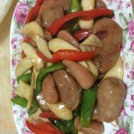 香肠炒鲍鱼菇