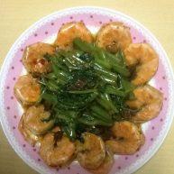 麻辣蒜香空心菜虾