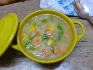 虾米芥菜粥,如图。成品