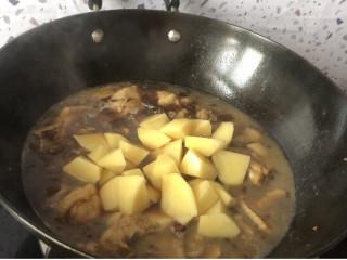 大盘鸡拌面,加入土豆和盐 改小火继续煮二十分钟 我喜欢土豆炖化在汤汁里 也可以减少时间 保持土豆整块的状态