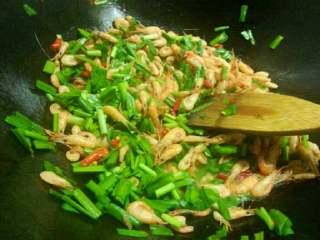 韭菜炒河虾,姜爆香,虾下锅翻炒,放点剁辣椒,依次韭菜下锅,放入盐,酱油,调味精即可
