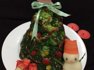 圣诞树,如图还有剩余的土豆泥可以做成小雪人,是不是可爱至极,圣诞节快乐哦,准备好你的长筒袜了吗?