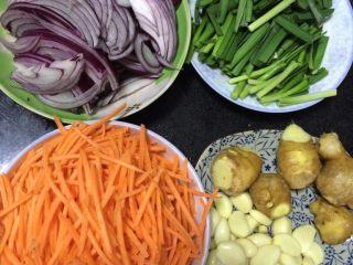 辣白菜,如图洋葱、胡萝卜切丝,葱、韭菜切段备用