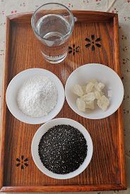 黑芝麻糊,称量好食材部分。