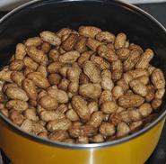 五香卤煮花生 ,开盖加足量盐(尝一下,要偏咸一点),倒入花生,盖上盖子。