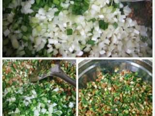 韭菜猪肉馅包子,放入韭菜翻炒,起锅前加入葱花翻炒即可,待馅冷却后才能做包子