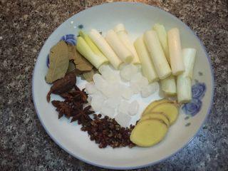 红烧猪蹄~满满的胶原蛋白,如图葱切段,姜切片,八角,花椒,香叶,草果,冰糖备用