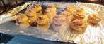 黑椒口蘑,预热后,把烤盘放入烤箱内,上下火,200度,10分钟即可