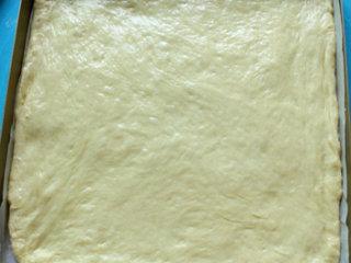 海苔肉松面包卷,用擀面杖擀成烤盘大小的长方形