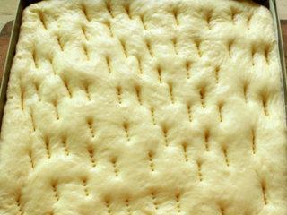 海苔肉松面包卷,放在温暖湿润的地方(36-38度,85%的湿度)处进行第二次次发酵,直到面包体积膨胀至2倍大为止。再用叉子叉一些小洞,防止面团在烘烤时鼓起来