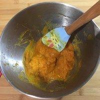 南瓜豆沙汤圆,压成泥