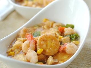 蚝油虾仁玉子豆腐