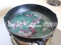 红豆薯圆糖水,将紫薯圆放进刚刚煮红薯圆的锅内,也煮2分钟左右捞出。