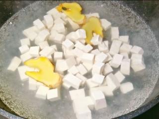 鲜嫩十足下饭神器鸭血豆腐,豆腐焯水捞出后,下入鸭血,同样焯水一到两分钟。