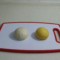 南瓜双色花卷,先将白色面团中的酵母加20克温水搅 匀,加糖、牛奶搅匀,倒入面粉中搅 散,揉成光滑细腻的面团。再将黄色 面团材料混合揉成光滑的面团