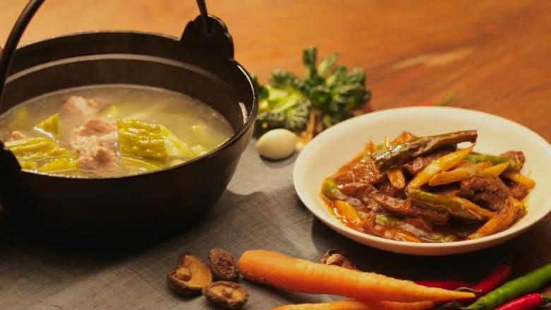 杭椒牛柳&苦瓜排骨汤