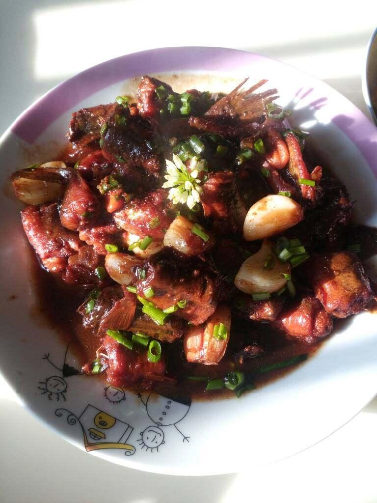 红烧野泥鳅,刚好自己种的葱开花了,好吃😊