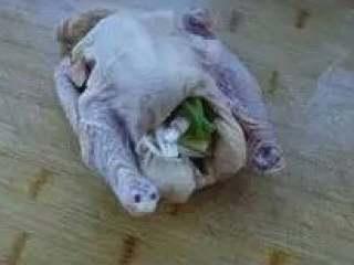 肥嫩鲜美白斩鸡,三黄鸡洗净,将部分葱、姜塞入鸡肚内。