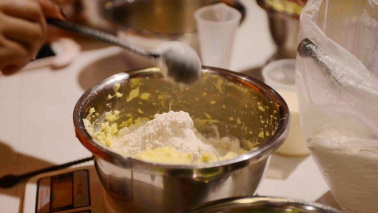#春日烘焙教室#草莓塔/水果塔,加入过筛的低粉,搅拌成团。
