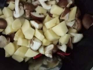 红烧香菇土豆,将土豆香菇放入锅内