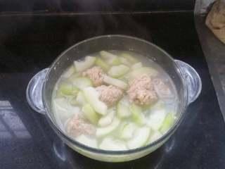 时令鲜蔬冬瓜丸子汤,出锅了😁如果放点芹菜叶就更清香了。