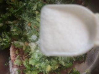 猪肉萝卜馅饺子,倒入适量的盐