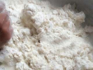 红薯叶馍,把面粉兑开水进行搅拌