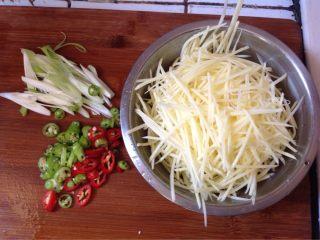 醋溜土豆丝,土豆去皮,洗净,擦成丝,用水泡一下,捞出备用,线椒切成小段,葱切成丝