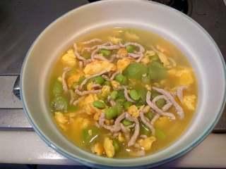 丝瓜毛豆肉丝蛋汤