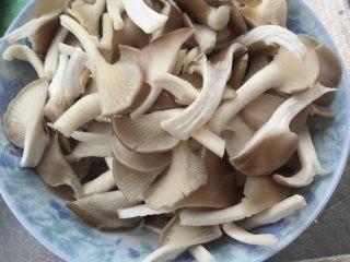 平菇炒青菜,平菇撕开洗净待用